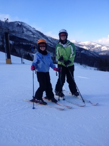 Rachel and Lisa on the slopes
