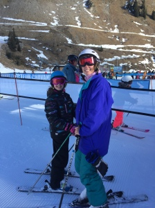 My wife and daughter at the ski lift