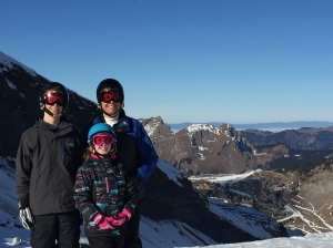 My son, daughter, and me in the Alps